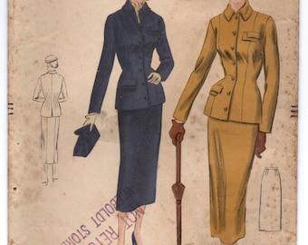 "1950's Vogue Two-Piece Suit Pattern - Bust 30"" - No. 6888"