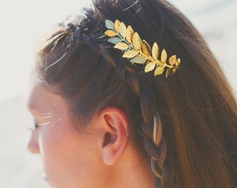 Large Gold Plated Leaf Hair Comb,Grecian, Gold Leaf Hair Comb,Wedding Hair Comb,Bridal Hair Comb,Grecian Hair,Laurel Hair Comb, Grecian