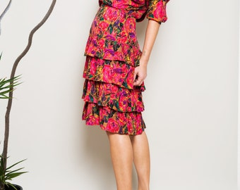 SALE!!! 1990s// Tiered Ruffle// Silk// Cha Cha Floral Dress// Small