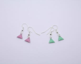 Tiny Triangle Earrings. Pastel. Mint or Pink. Dangle. Silver. Enamel. Spring