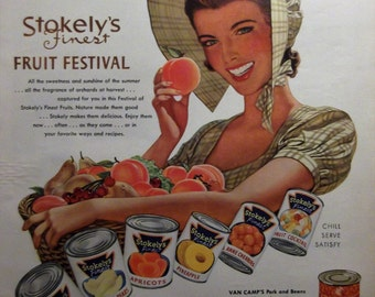 STOKELY'S Finest Fruit Festival Original Vintage Food Ad Retro Kitchen Print Wall Decor Ready To Frame Additional Ads Ship Free