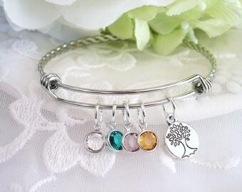 Family Tree Birthstone Bracelet Mothers Jewelry Nana Gift for Grandmother Birthstone Bangle for New Mom Gift for Grandmother Mothers Jewelry