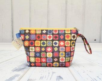 Crochet Granny Squares fabric. Small Clutch zipper bag, Knitting bag for socks,Sock Knitting bag. Knitting Project Bag, Crochet Project Bag.
