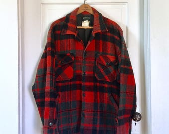 Vintage Pioneer Wool Jacket, Men L, Lumberjack, Buffalo Plaid, Hunter