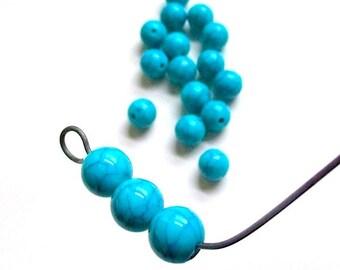 Turquoise Blue Beads, Crackle Beads, 10mm Acrylic Beads, Faux Gemstones, Imitation Matrix Turquoise, DIY Jewelry Making - 18 Pieces SP747