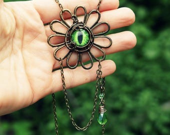Green dragon eye necklace flower pendant Wire wrapped Steampunk Gift for her Evil eye jewelry cool gifts Scifi Unusual Nature inspired