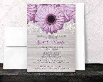 Purple Daisy Baby Shower Invitations - Rustic Floral and Light Gray Wood - Printed Invitations
