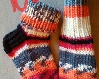 Bear's ski jump -Childrens handknit cozy warm Boot WOOL SOCKS boys girls 1y 2y Todlers Kids multicolor Orange brown gray Handmade in Finland