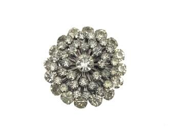 vintage 1960s rhinestone brooch / silver tone / snowflake pin / costume jewelry / vintage brooch / vintage jewelry