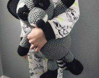 Scamp the Raccoon, Crochet Raccoon, Stuffed Animal, Raccon Amigurumi, Plush Animal, Ready to Ship
