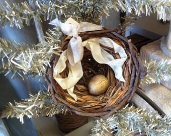 Bird Nest Christmas Ornament Party Favor Nest Egg Wedding Gold Egg French Nest