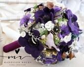 Felt flower button brooch bouquet, Alternative bouquet, woodland wedding, bouquet, wiccan handfasting pagan wedding, bouquet, floral flower