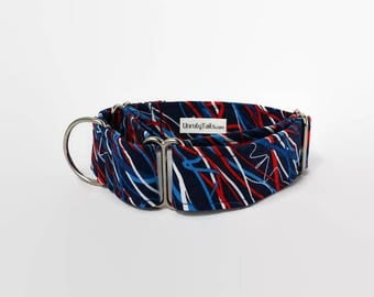 Streamers & Stars on Navy Adjustable Dog Collar - Martingale Collar or Side Release Buckle Collar -  Patriotic USA , red white and blue