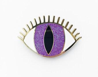 MAGIC EYE BROOCH - purple