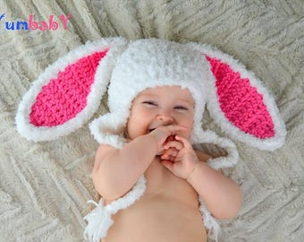 Easter Hat Baby Bunny Ears Beanie Pink Rabbit Hats for kids Fluffy White Bunny hats