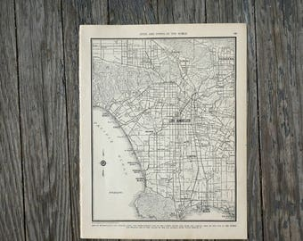 City of Los Angeles Map / Vintage Map Decor / City Map Wall Art / 1939 Antique Map of CA / Los Angeles CA Map / Los Angeles California Map