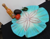 "Reserved for Susan, Aqua, Blue and a little copper brown Sand Dollar Lazy Susan 14"" across, wood, epoxy glass like finish, Janet Dineen Art"
