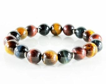 Stretch Gemstone Bracelet, multi stone bracelet, yellow, red, blue, Tiger Eye, silver, semi-precious, natural stones, Stackable, gift, 3216