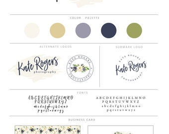 Branding Kit, Premade Branding Package, Photography Logos and Watermarks, Watercolor Floral Wreath Marketing & Branding Set bp79