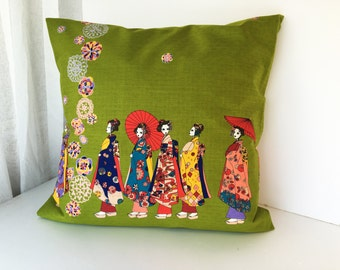 Geisha pillow case, girls bedding pillow throw, japanese fabric pillow cover, geisha doll kimono pillow set, japanese cotton pillow cover