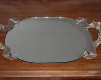 Vintage Mirrored Vanity Dresser Tray Large Bow Handles