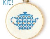 Modern Cross Stitch Kit, DIY Kit, Embroidery Kit, Patterned Teapot in Blue and Orange, Beginner Cross Stitch Pattern, Nursery Decor