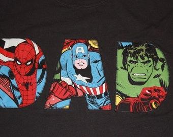 Superhero DAD, Fathers Day, Pregancy Annoucement, Birthday, Spider Man, Hulk, Captain America, Spiderman
