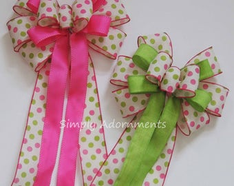 Pink Lime Spring Wreath Bow Pink Green 1st Birthday Party Decor Pink Lime Polka Dots Baby Shower Decor Spring dots Decor Handmade Gift Bow