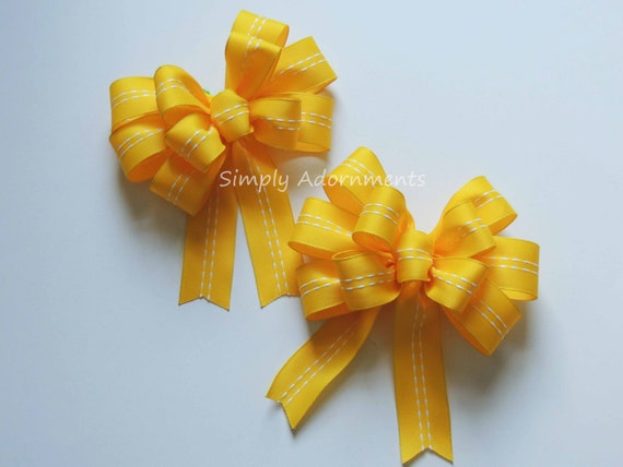 2 Yellow Gift Bows Yellow Wreath Bows Yellow Door Hanger Bows Yellow Swag Bows Support Our Troops Wreaths Garland Bows Teacher Wreath Bows