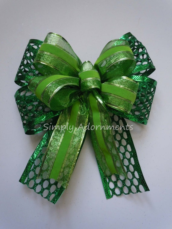 St Patrick's Wreath Bow Kelly Lime Wreath Bow Lime Irish Green Door Hanger Bow Wedding Decor Kelly Shamrock Green Bow St Patrick Gift Bow