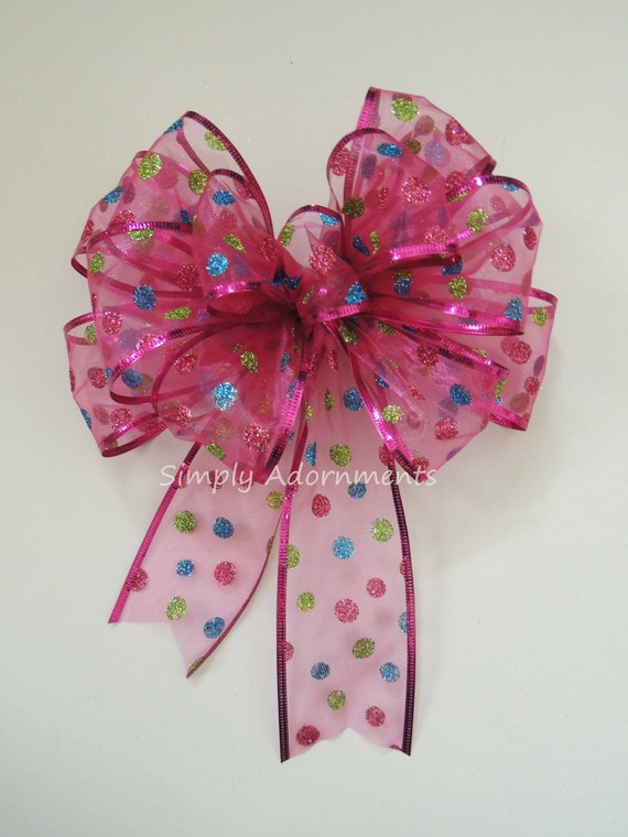Pink Christmas Dots Wreath Bow Pink Dots Wreath Bow Hot Pink Multi colored Polka Dots Birthday party decor Christmas Gift Bow Shower Decor