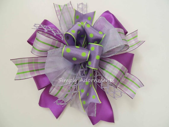 Whimsical Purple Easter Wreath Bow Lavender Easter Swag Bow  Purple Lime Lantern bow Purple Easter Gift Basket Bow Easter Door hanger Bow