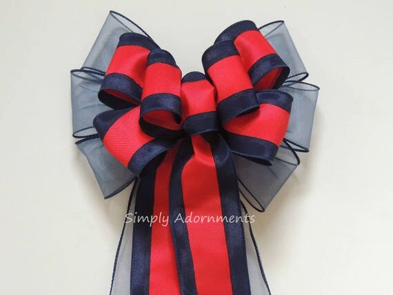 Navy Blue Red Bow July 4th Party decor Patriotic Wreath Bow Navy Red Bow Boston Red Sox Wreath Bow Navy Red Sport Handmade Bow Gift bow