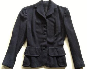 1950s Navy Wool Gabardine Chic Tailored Jacket