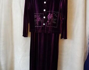 Vintage L Large 80s 90s Maroon Purple Floral Print Velveteen Floral Short Sleeve   Maxi Dress 2 piece Long Sleeve Blouse Velour