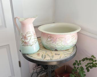 Extraordinary French Art Nouveau Foot Basin and Pitcher, signed, Rare pink, white and green
