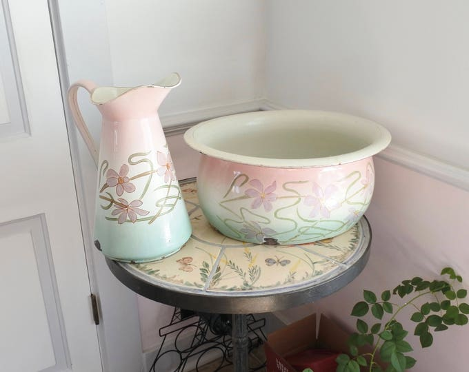 Featured listing image: Extraordinary French Art Nouveau Foot Basin and Body Pitcher, signed, Rare pink, white and green, c. 1890's