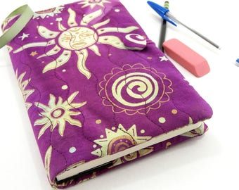Purple Cover for Moleskine, Batik Journal Cover, Quilted Diary Suns and Stars in Purple, Aqua and Gold 5 x 8 Reusable Writing Journal Cover