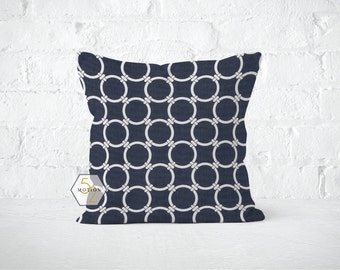 Navy Circles Pillow Cover - Links Blue - 22, 24, 26 and More Sizes - Zipper Closure- ec246