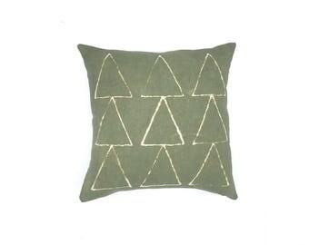 Hand dyed Tribal Pattern Olive Green Pillow Cover 18 x 18   Boho Pillow Tribal Nursery Tribal Decor Neutral Pillow Boho Decor Dorm Man Cave