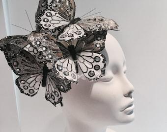 Butterfly Fascinator - Derby- Butterfly Hat- Coctail Hat- Butterfly Headdress- Kentucky Derby- Spring Fascinator -Wedding- MadHatter