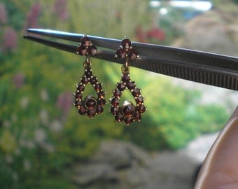 Vintage 900 Silver Gold Wash Bohemian Garnet Drop Earrings Non Pierced Screw Backs