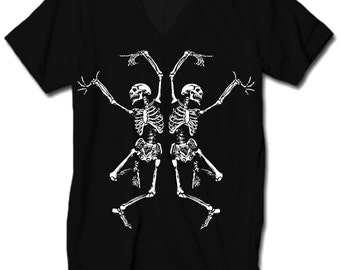 Womens Dancing SKELETONS T-shirt BOHO Bohemian Short Sleeve Slouchy Vneck Tee screen print Top Alternative Apparel S M L XL More colors