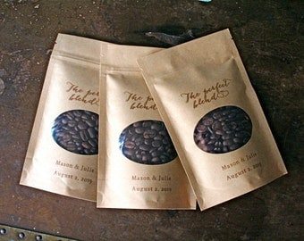 Personalized coffee favor bags, wedding favors, 50 Kraft zipper top window bags for coffee beans, ground coffee favors, The Perfect Blend