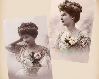 Fine Edwardian Lady - 2 New 4x6 Vintage Postcard Image Photo Prints LE185 LE055