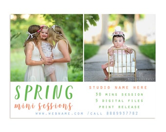 7x5in Spring Minis Marketing Template, Photography Marketing Board Template, Newsletter Template