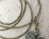 Astrological Scorpio Necklace with Vintage Silver Charm on Brass Beads