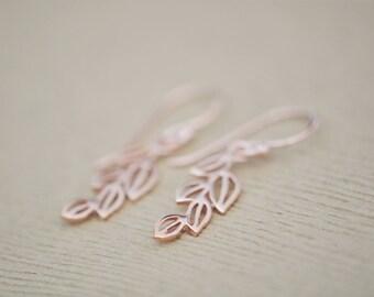 Rose Gold  Leaf Drop Earrings - Leaf Earrings - Rose Gold  Earrings