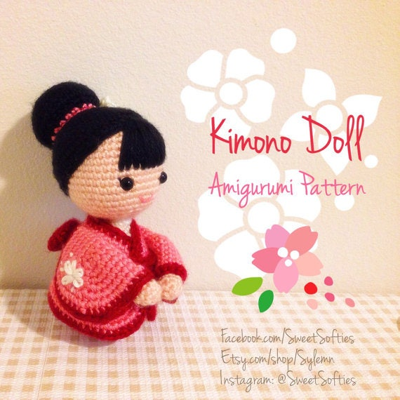 Japanese Amigurumi Doll Patterns : Amigurumi Crochet Doll Pattern Japanese Kimono Doll Anime