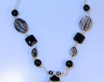 ONYX Cross NIGHT JASPER Necklace